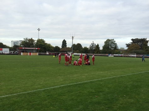 The Bracknell players prepare for extra time